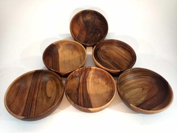 lot vaisselle bol en bois de noyer ecologique