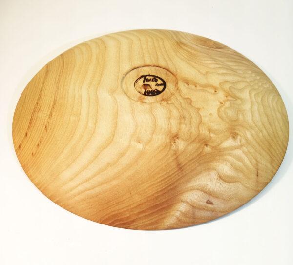 Assiette en bois de frêne logo